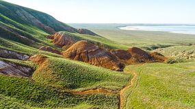 Unusual landscape. Mountain Big Bogdo in the Astrakhan region, Russia. Sacred place for practicing Buddhism. The only unique natural elevation among the steppe royalty free stock photo