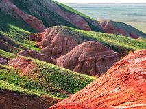 Unusual landscape. Mountain Big Bogdo in the Astrakhan region, Russia. Sacred place for practicing Buddhism. The only unique natural elevation among the steppe royalty free stock photos