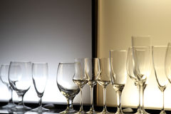 Unusual lighting glasses of wine Royalty Free Stock Photography