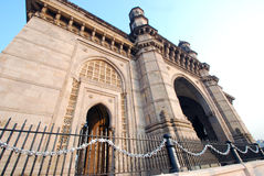 Unusual low angle shot of Gateway of India. Copy Space. Stock Photography