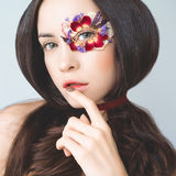 Unusual makeup with flowers Royalty Free Stock Image