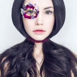 Unusual makeup with flowers Stock Images