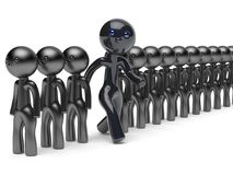 Unusual man different people stand out from crowd think differ. Unusual man different people stand out from crowd giant character black think differ unique Royalty Free Stock Photo