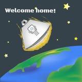 International day of human space flight. Space. Spaceship landing. Illustration vector. Art. Space. Spaceship landing. Illustration vector. Art Stock Image