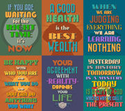 Unusual motivational and inspirational quotes posters. Set 9. stock illustration