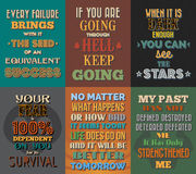 Unusual motivational and inspirational quotes posters. Set 1. royalty free illustration