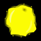 Unusual mystical uneven yellow porthole in dark place Royalty Free Stock Photos
