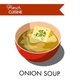 Unusual onion soup from french cuicine isolated illustration Stock Images