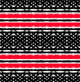 Unusual Painted Black Red Net Pattern. Vector Painted Pattern. Textured geometric background. Abstract seamless pattern from brush strokes. White, black and red vector illustration