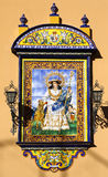 Unusual painting of Virgin Mary on azulejos, Sevilla Royalty Free Stock Images
