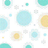 Unusual pattern with circles and dots background. Abstract fireworks or snowfall. Festival or carnival image. Greeting card background, vector illustration Stock Photography