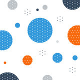 Unusual pattern with circles and dots background. Abstract fireworks or snowfall. Festival or carnival image. Greeting card background, vector illustration Stock Image