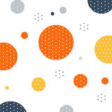 Unusual pattern with circles and dots background. Abstract fireworks or snowfall. Festival or carnival image. Greeting card background, vector illustration Royalty Free Stock Photography