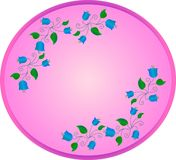 blue bells with green leaves and curls on an oval pink background stock illustration