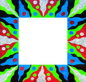 Unusual patterned bright free hand drawn border. Royalty Free Stock Images