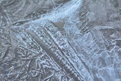 Strange patterns in ice. Royalty Free Stock Photos