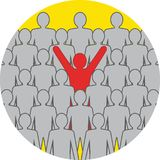Unusual person in the crowd concept. Flat design. Icon in orange circle on white background Stock Photos