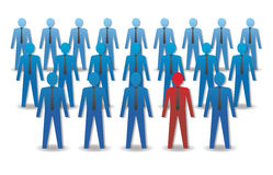 Unusual person in the crowd. Leadership. Vector illustration Stock Image