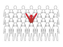 Unusual person in the crowd. Vector concept illustration Royalty Free Stock Photos