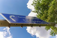 From an unusual perspective photographed motorway sign on the A52, shows the direction to Dusseldorf,. Germany stock photo