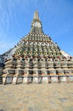 Unusual perspective of Wat Arun on the background of blue sky. Thailand Royalty Free Stock Images