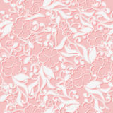 Unusual Pink seamless Pattern background with white intertwined flowers. Royalty Free Stock Image