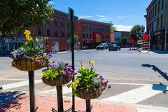 Unusual planters in downtown Troy PA Stock Photography