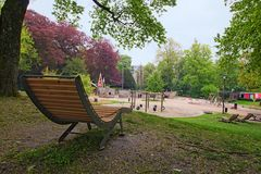Unusual playground for little kids in the park. Luxembourg, Gran. D Duchy of Luxembourg stock photography