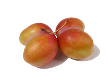 Unusual plums. Unusual plum in the shape of a heart Stock Photography