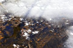 An unusual property of ice frozen at atmospheric pressure is that the solid is approximately 8.3% less dense than liquid water. A stream is a body of water with Royalty Free Stock Images