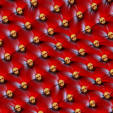 Unusual red leather golden skull design upholstery Stock Image