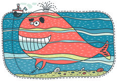 Unusual red whale keeps a small boat Stock Image