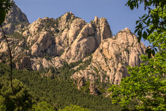 Unusual Rhino Horn shaped peaks on a Corsican Mountain. Royalty Free Stock Photography