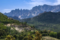 Unusual Rhino Horn shaped peaks on a Corsican Mountain. Stock Images