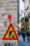 Unusual road sign in Florence. royalty free stock photography