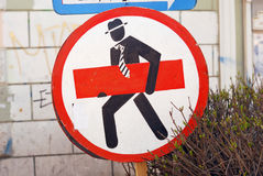 Unusual road sign. On the streets of St. Petersburg Royalty Free Stock Photos