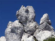 Unusual rock formation. Scenic view of unusual rock formation with blue sky background Stock Image