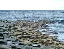Unusual rock formation at Giant`s Causeway stock photography