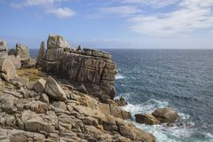 Unusual rock formations, Peninnis Head, St Mary's, Isles of Scilly, England Stock Photos