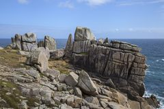 Unusual rock formations, Peninnis Head, St Mary's, Isles of Scilly, England Stock Image