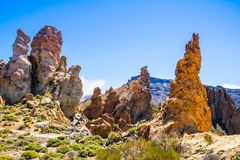 Unusual rock formations in Teide National Park, Tenerife, Canary Royalty Free Stock Photo