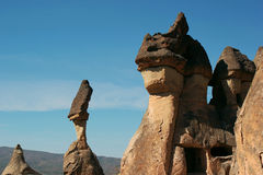 Unusual rocks in Cappadocia, Turkey.  stock photo