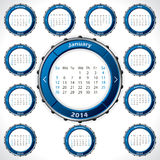 Unusual and rotateable 2014 calendar design. With blue color stock illustration