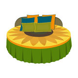 Unusual round bed.Bed with cushions in the form of a yellow flower.Bed single icon in cartoon style vector symbol stock Stock Image