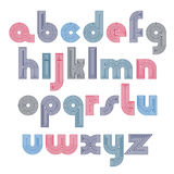 Unusual rounded colorful font created from lines. Vector Stock Photo