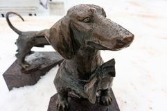 Unusual sculptures and monuments of St. Petersburg. Bench Dachshund. royalty free stock photography