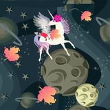 Unusual seamless pattern with little raccoon sitting astride a winged unicorn who whispers something in his ear. Against a background of space landscape and royalty free illustration