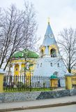 The unusual shape of russian orthodox church in Saint Petersburg. The untypic bell tower and rotunda shaped temple are the complex of Holy Trinity Church in Stock Photography