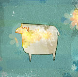 Unusual sheep. Unusual sheep on a grungy turquoise background with snowflakes. Eps10 vector illustration Stock Illustration