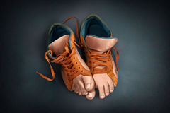 Unusual shoes. legs. Royalty Free Stock Photo